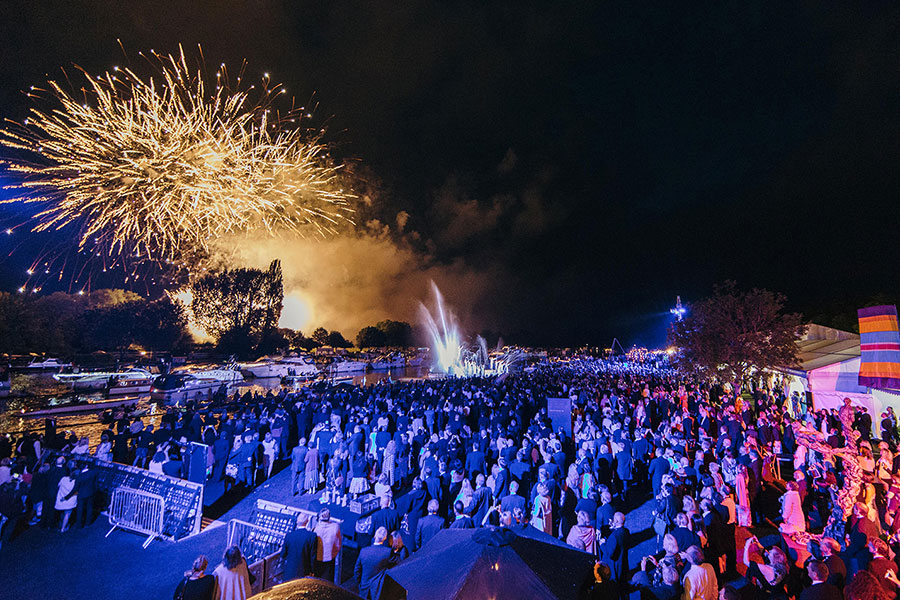 An image of fireworks at the Henley Festival - book a chauffeur to this event from GandT Executive